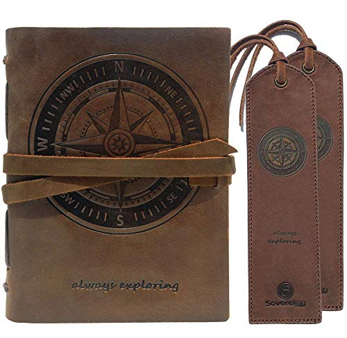 Leather Journal Nautical Compass Notebook Embossed Handmade Travel Diary A5 8x6' + 2 Pack Matching Leather Bookmarks - Perfect for Men Women and Kids | Leather Gifts for Bookworms Writers and Friends