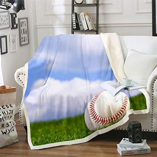 Loussiesd Manta de forro polar con estampado de béisbol para cama, sofá, deportes, manta de felpa, juegos de béisbol decorativos, manta sherpa, atleta competitiva, cálida y difusa de 127 x 152 cm