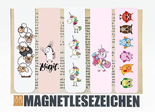 Segnalibro a forma di unicorno magnetico, 5 pezzi, 10 x 2,5 cm, per la scuola e per i libri di marca, pecore e unicorni, gufi