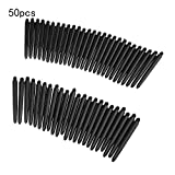 Juego de 50 dardos de nailon 2BA 48 mm rosca de plástico para dardos de caña de dardos, accesorios para rosca estándar 2BA, color negro, color negro talla única
