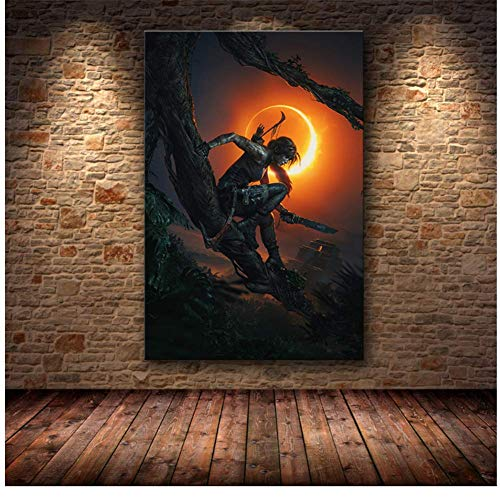wzgsffs La Pintura de la decoración del Cartel de Tomb Raider en Lienzo HD Lienzo Pintura Arte Carteles e Impresiones Pintura Cuadros -50x75cm Enmarcado