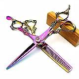 Juego de tijeras profesionales japonesas de peluquería de Dragon Knight de 5,5 pulgadas y 6 pulgadas, color morado