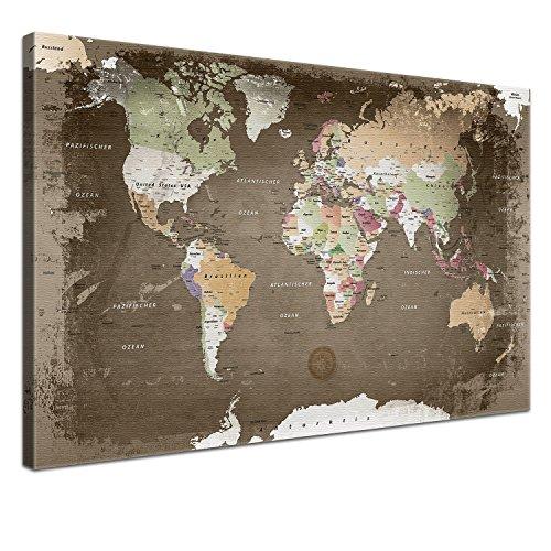 LanaKK - Planisfero da Parete, Effetto Usato, con Dorso in Sughero e Pregiata Tela Stampata su Telaio, Multicolore 120 x 80 cm, 1 Pezzo Marrone
