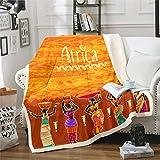 Loussiesd - Manta de forro polar con diseño africano para sofá, diseño étnico, afro, resistente a las manchas, estilo exótico, decoración de la habitación King 87 x 94 pulgadas