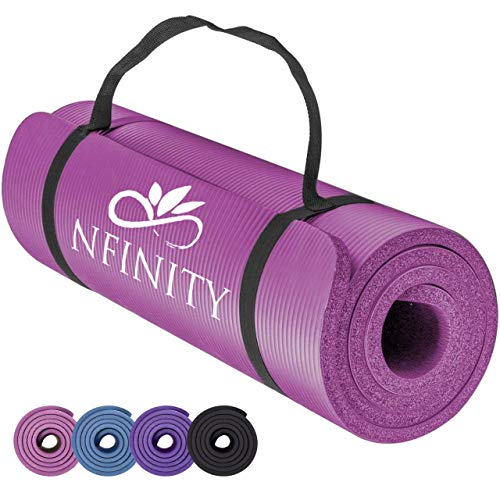 Yoga Mat Exercise NBR Fitness foam mat Extra Thick Non-Slip Large Padded High Density for Pilates gymnastics stretching Fitness & Workout with Free Carry Strap. (Pink)