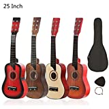 OriGlam Guitarra acústica de 25 pulgadas, guitarra acústica natural, madera maciza de tilo, kit de principiante para principiantes con bolsa de concierto, cuerdas, púas (atardecer)