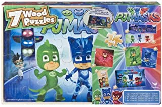 7 Pack Wood Puzzles Set PJ Masks in Wooden Storage Box (Styles May Vary)