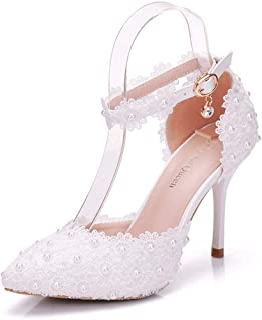النساء عالية الكعب الصنادل الأبيض الرباط لؤلؤة أحذية الزفاف مدبب تو أحذية الزفاف