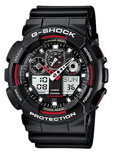 Casio G-SHOCK Orologio 20 BAR, Rosso/Nero, Analogico - Digitale, Uomo, GA-100-1A4ER