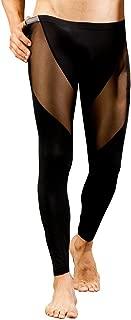 Men's Sexy Slim Fit Leggings Pants Performance Mesh Long Johns