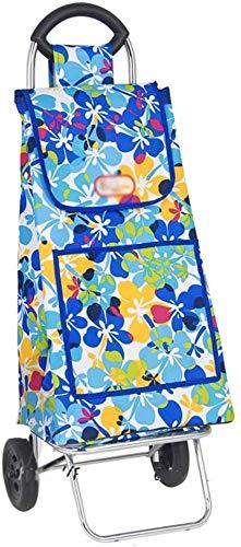 Zjnhl JIAN Trolley Lichte Shopping Trolley 2-wiel opvouwbare kleine aanhanger, blauw grote capaciteit waterdichte opslag in de vrije ruimte ruimte bagagewagen