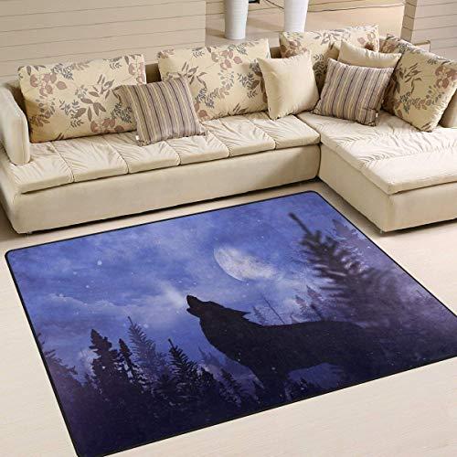 G.H.Y Bereich Teppich Mond Nacht Wald Wolf Teppich für Wohnzimmer Schlafzimmer 36 x 24 in