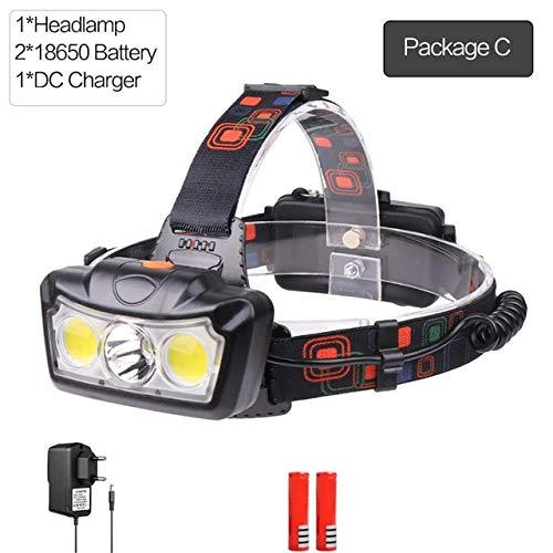 Lampe frontale LED T6 COB puissante Phare lumineux puissant Lampe frontale étanche Lampe frontale réglable avec batterie 18650 rechargeable Pacakge C