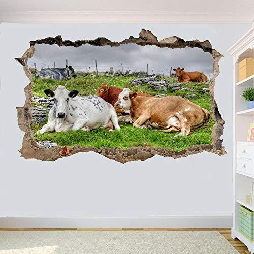 Pegatinas de pared Adhesivo de pared Vaca de ganado doméstico pegatinas de pared arte pegatinas de efecto 3D mural 80 * 120CM