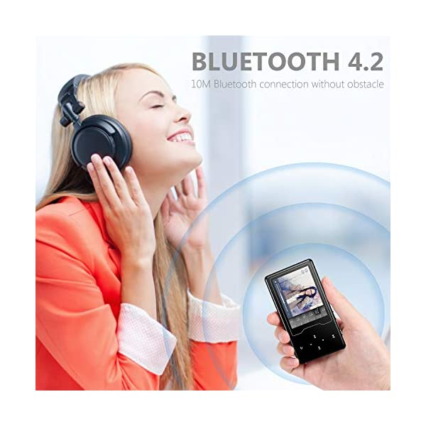 """MP3 Player, 16GB MP3 Player with Bluetooth 4.2, Portable HiFi Lossless Sound 2.4"""" Large Screen Music Player with FM Radio Voice Recorder Video Player, Support up to 128GB"""