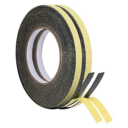 KURASHI 高密度クッション隙間テープ 2本セット 防水 パッキンテープ 防風 防音 雨戸 サッシ 幅10mm 厚み1mm(10m)