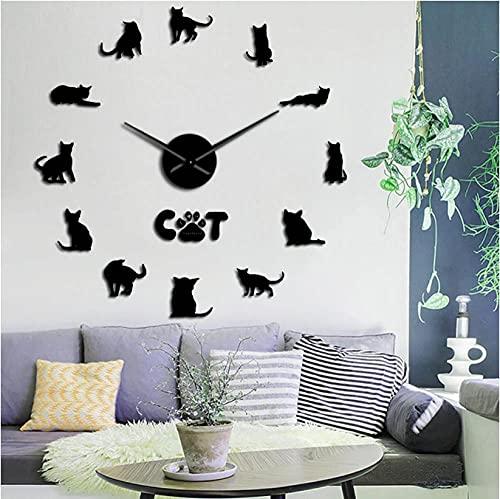 JKLMZYT DIY Gatos Arte de Pared Animales Gatito Mascota Reloj de Pared Gigante sin Marco con Efecto Espejo Gran Reloj de Pared silencioso de cuarzo-27inch