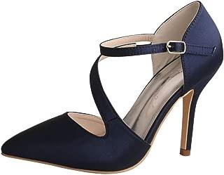 Wedopus MW2019 Women's Pointed Toe Stiletto Heel Strappy Sexy Satin Dress Pumps