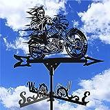 TinaDeer Wetterfahne Wetterhahn Hexe Motorrad Motiv Form Retro Geschnitztes Design Windrichtungsanzeiger Windspiel Metall Decoration für Garten Hinterhof Terrasse Hof Dach Ornament (Schwarz)