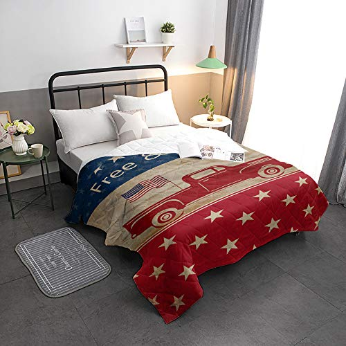 Edwiinsa California King Duvet Inserts for Kids/Adults/Gifts - Red Pickup Truck Carrying American Flag Free and Brave - All Season Alternative Down Comforter/Quilt Blankets for Bedroom/Living Room