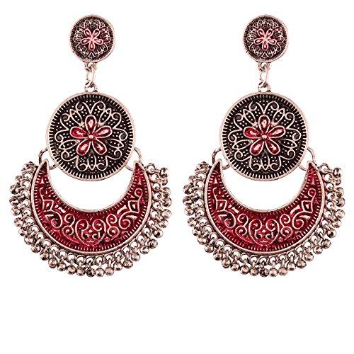 I Jewels - Pendiente de plata oxidada con forma de luna para mujer (E2554SQ)