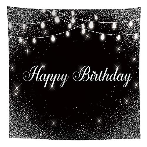 Allenjoy Happy Birthday Black Silver Backdrop Shiny Glitter Dots Sweet 16 30th 40th 50th 60th 70th Bday Party Decor Banner Newborn Kid Photography Background 8x8ft Glamour Event Photo Shoot Booth Prop