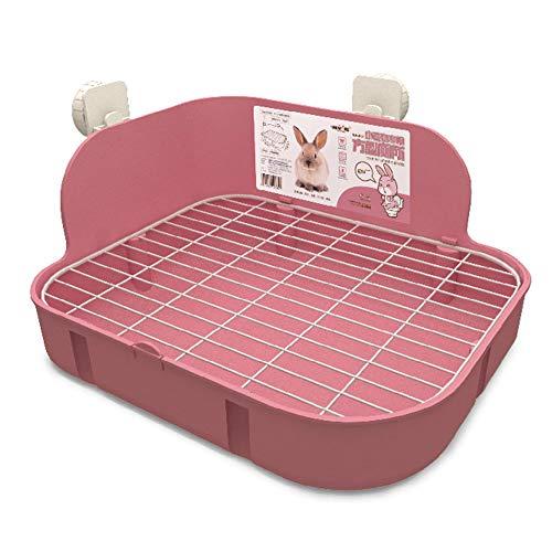 SunshineBio Katzentoilette für Kleintiere, Kaninchen, Meerschweinchen, Galesaur, Frettchen, Eckstreu, Töpfchentrainer mit Edelstahl-Panel, Kleintierkäfig, Toilette, Bettkasten, Rosa