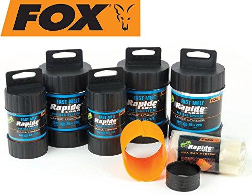 FOX Edges Rapide System Fast melt - Befüller + PVA Beutel zum Karpfenangeln, Wasserlösliche Taschen zum Anfüttern von Karpfen, Größe/Packungsinhalt:55x120mm - 25 Stück