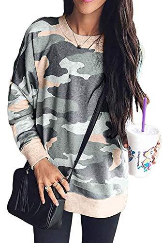 Camo Sweatshirt Crewneck Comfortable Fashion Camo Pullover Tops for Fall Army Green S