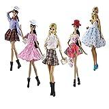 Lance Home 5 Ensemble Rétro Vêtements d'automne Robe écossaise + Chaussures Sac De Mode Chapeau Manches pour 29cm Poupées Accessoires Bébé Cadeaux Casual Style