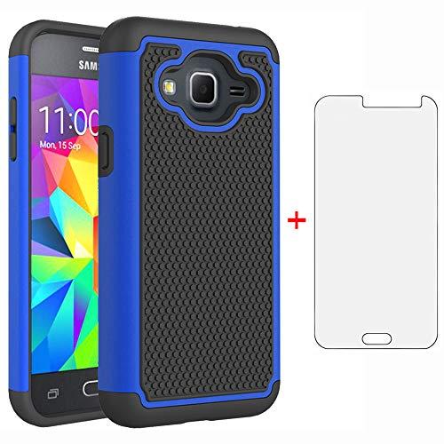 Phone Case for Samsung Galaxy J3 2016/J 3 V/J36V/Sky/Express Prime/Amp Prime with Tempered Glass Screen Protector Cover Hybrid Slim Rugged Cell Accessories Glaxay Sol J3V J36 6 J320V J320A Black Blue