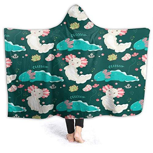 XCNGG Manta con Capucha Cute Kawaii Axolotls Drawing Hooded Blanket Windproof Cozy Hooded Throw Wrap Thermal Hoodie Wearable Blanket Durable Reversible Hooded Sherpa Blanket for Men Women