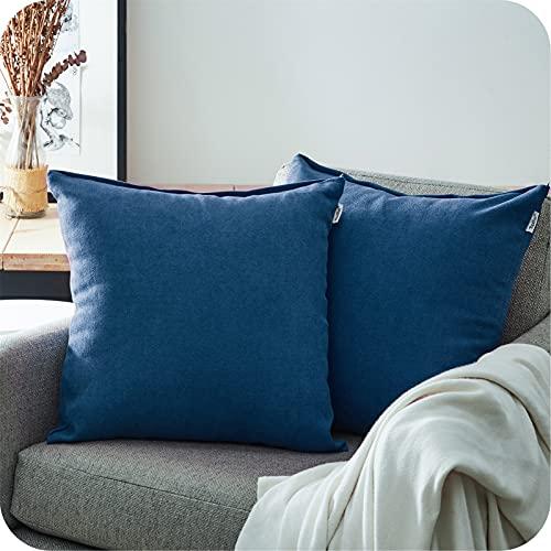 Topfinel Juego 2 Fundas Cojines Sofas de Algodón Lino Chenilla Duradero Almohadas Decorativa de Color sólido para Sala de Estar, sofás, Camas, sillas 50x50cm Azul Marino