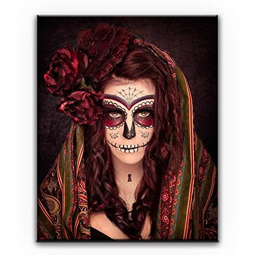 Diamond Painting Mujer De Halloween Punto De Cruz Diamante Completo Bricolaje 5D Regalo De Decoración De Kit Completo Manualidades De Arte Bordado De Diamantes De Imitación,Taladro Redondo,50x70cm