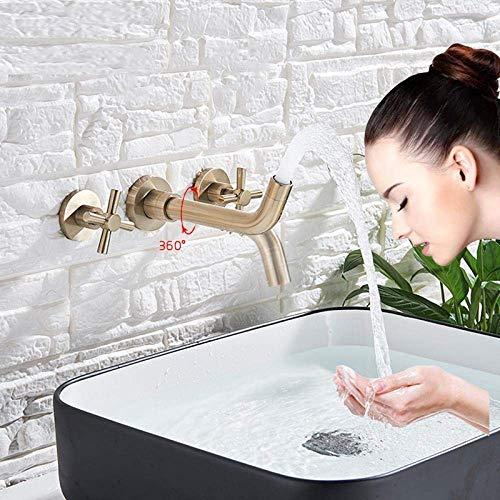Keukenspoelkraan met gouden kraan Wandbeugel Dubbele handvat Tuit Wheel Badkamer wastafel Mixer Tap voor warm koud water