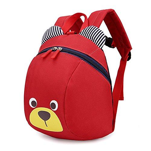 Rugzak voor kleine kinderen, anti-verloren waterdichte leuke koele dierenkarikatuur-draagtas schooltas, voorschool, bookbag voor kinderen, spelenders, broodtrommels met veiligheidsgordel (rood)