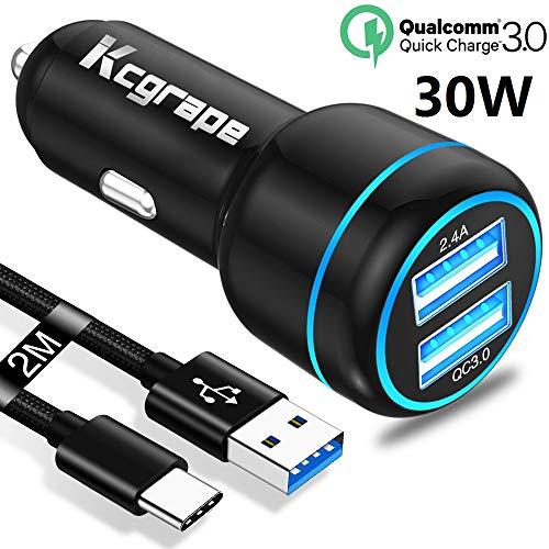 Auto Oplader,Autolader Quick Charge 3.0+2M USB Type C Kabel Voor Samsung A50 A40 A30 A30S A90 5G,Note 10+ 10 8 9,LG G7 G8 G6,Sony Xperia XZ3 XZ2 XZ 1,Nokia 6.1 7.1 6.2 7.2 8.3,Huawei Mate 20 30 Lite