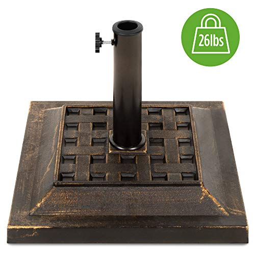 Best Choice Products Heavy Duty 26lb Outdoor Steel Square Patio Umbrella Base Stand w/Bronze Finish,...