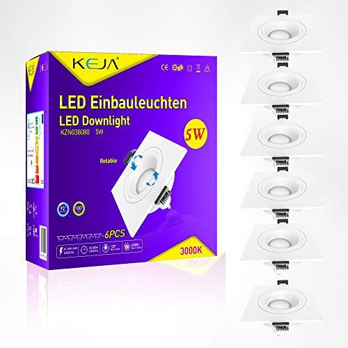 Faretto LED da incasso dimmerabile e orientabile, angolare IP20 Ultra piatto, incl. set di 6 faretti LED da incasso, 5 W, GU10, 230 V, 420 lm, luce bianca calda