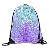Lawenp Plegable Mandala Flower In Light Blue and Purple Drawstring Bag, Sports Cinch Sacks String Drawstring Backpack for Picnic Gym Sport Beach Yoga