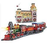 WWWL Bloques de construcción Toy City Tren y estación Bloques de construcción Set Juguetes para niños Niños Niñas Regalo Ladrillos Kits