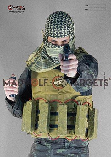 Madwolf Targets Silueta Realista para Tiro táctico y policial - Terrorista Yihadista con Cinturon Explosivo (84,1 x 59,4 cm) (Pack 20 Siluetas)