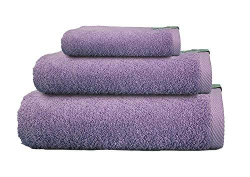 Cabetex Home - Juego de Toallas 100% Algodón Peinado - 550 Gr/m2 - Tres Piezas - Toalla de baño, Lavabo y Tocador (Lila)