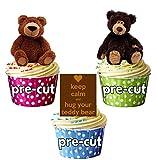 Teddy Bears Orsetti 12–Decorazioni per torta commestibili cup cake topper compleanno BATTESIMO