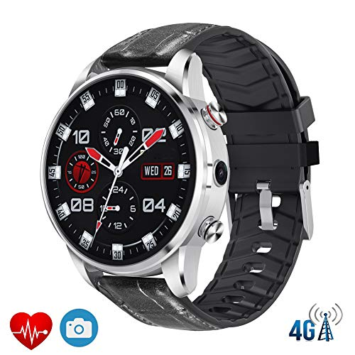 Best Price PINGTANG Smartwatch with Heart Rate Sensor, 4G Android7.1.1 WiFi Two-Way Positioning, and Leather Strap Activity Tracker Pedometer Watch with Message Reminding for iOS and Android Man Woman,Silver