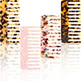 Remerry 4 Pieces Hair Detangling Comb Tortoise Wide Tooth Comb Celluloid Large Comb Detangler Comb Styling Comb for Long and Short Hair, Curly and Straight Hair