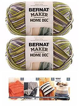 Bernat Maker Home Dec Corded Yarn Bundle 2 Skeins with 4 Patterns 8.8 Ounce Each Skein  Lilac Fence Varg