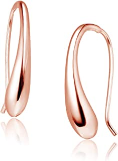 Big Apple Hoops - High Polish Sterling Silver Classic Hollow Puffed Teardrop Threader Dangle Earrings Made from Genuine Solid 925 Sterling Silver in 3 Color Rose, Silver, Gold Gift for Teens, Women
