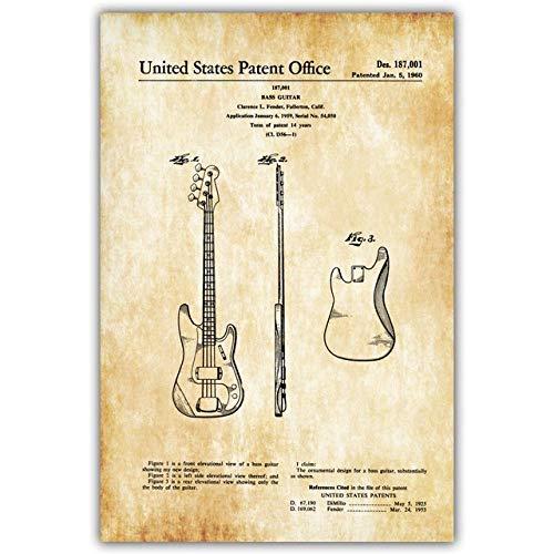 HNBLSHM Fonógrafo Guitarra eléctrica Fender Amplificador Fender Bass Tremolo Blueprint Canvas Art...
