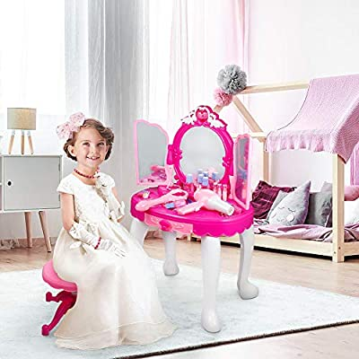 Greensen Childrens Makeup Vanity Set, Girls Toddler Vanity Makeup Table with Mirror and Stool, Makeup Vanity Toy Set with Hair Dryer and Makeup Accessories for Girls Christmas Birthday Gift, Pink